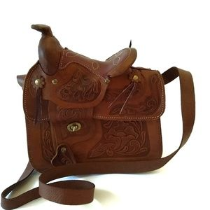 Vintage Tooled Leather Mini Horse Saddle Bag